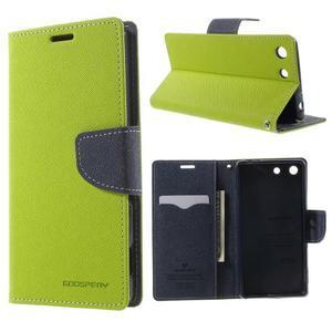 Goos PU kožené peňaženkové puzdro pre Sony Xperia M5 - zelené - 1