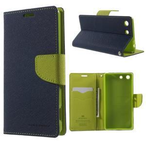 Goos PU kožené penženkové pouzdro na Sony Xperia M5 - tmavěmodré - 1