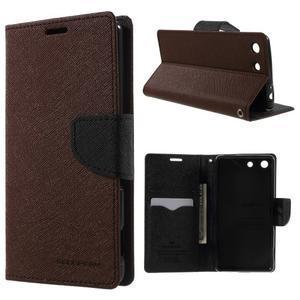 Goos PU kožené peňaženkové puzdro pre Sony Xperia M5 - hnedé - 1