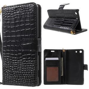 Croco Peňaženkové puzdro pre mobil Sony Xperia M5 - čierne - 1