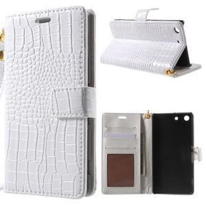 Croco Peňaženkové puzdro pre mobil Sony Xperia M5 - biele - 1