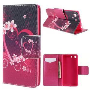 Crafty Peňaženkové puzdro pre Sony Xperia M5 - srdce - 1