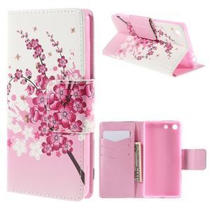 Crafty peněženkové pouzdro na Sony Xperia M5 - kvetoucí větvička - 1