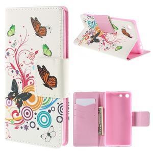 Crafty Peňaženkové puzdro pre Sony Xperia M5 - motýľe - 1