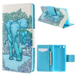 Crafty Peňaženkové puzdro pre Sony Xperia M5 - modrý slon - 1