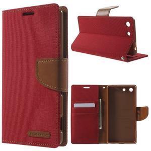 Canvas PU kožené / textilné puzdro pre Sony Xperia M5 - červené - 1