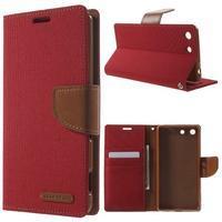 Canvas PU kožené / textilné puzdro pre Sony Xperia M5 - červené - 1/7