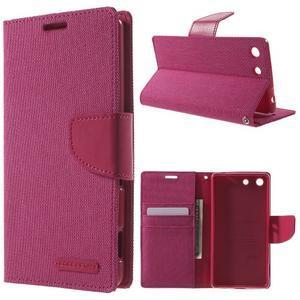 Canvas PU kožené / textilné puzdro pre Sony Xperia M5 - rose - 1