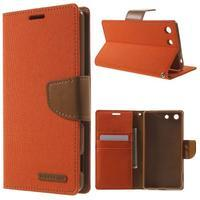 Canvas PU kožené / textilní pouzdro na Sony Xperia M5 - oranžové - 1/7