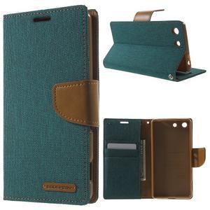 Canvas PU kožené / textilní pouzdro na Sony Xperia M5 - zelenomodré - 1