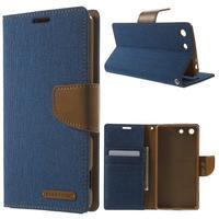 Canvas PU kožené / textilní pouzdro na Sony Xperia M5 - modré - 1/7