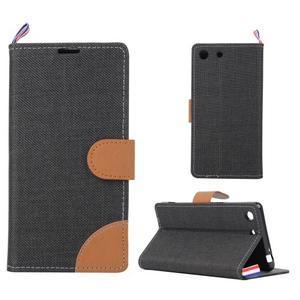 Jeans peněžnkové pouzdro na mobil Sony Xperia M5 - černé - 1