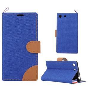 Jeans peňaženkové puzdro pre mobil Sony Xperia M5 - modré - 1
