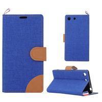 Jeans peňaženkové puzdro pre mobil Sony Xperia M5 - modré - 1/5