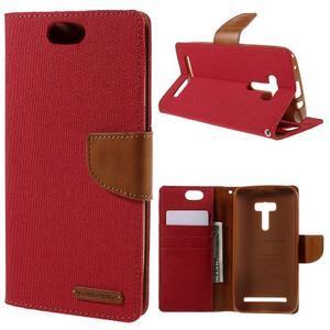Canvas PU kožené/textilné puzdro pre Asus Zenfone Selfie ZD551KL - červené - 1