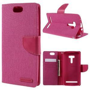 Canvas PU kožené/textilné puzdro pre Asus Zenfone Selfie ZD551KL - rose - 1