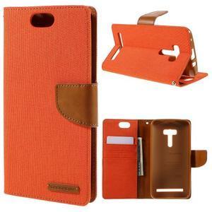 Canvas PU kožené/textilní puzdro na Asus Zenfone Selfie ZD551KL - oranžové - 1