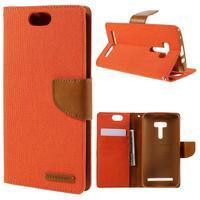 Canvas PU kožené/textilní puzdro na Asus Zenfone Selfie ZD551KL - oranžové - 1/7