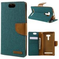 Canvas PU kožené/textilné puzdro pre Asus Zenfone Selfie ZD551KL - zelenomodré - 1/7
