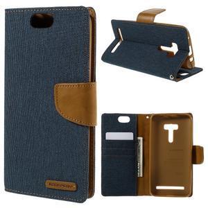 Canvas PU kožené/textilné puzdro pre Asus Zenfone Selfie ZD551KL - tmavo modré - 1