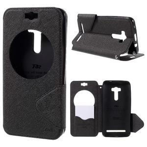 Peňaženkové puzdro s okienkom pre Asus Zenfone Selfie ZD551KL - čierné - 1