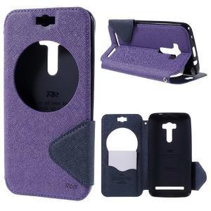 Peňaženkové puzdro s okýnkem na Asus Zenfone Selfie ZD551KL - fialové - 1