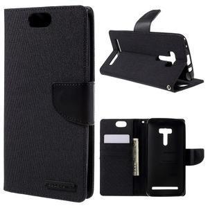 Canvas PU kožené/textilní puzdro na Asus Zenfone Selfie ZD551KL - čierné - 1