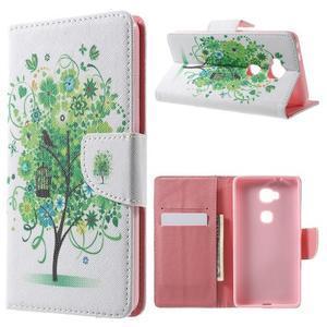 Emotive PU kožené pouzdro na mobil Honor 5X - zelený strom - 1