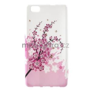 Gelový obal Style na Huawei Ascend P8 Lite - kvetoucí větvička - 1