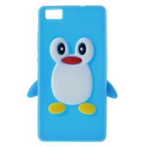 Tučňák silikonový obal na mobil Huawei P8 Lite - modrý - 1