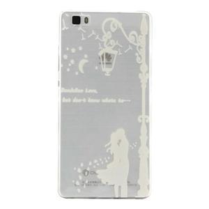 Transparentní gelový obal na Huawei P8 Lite - láska pod lampou - 1