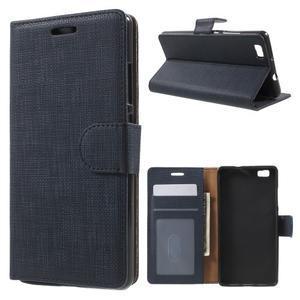 Clothy PU kožené pouzdro na mobil Huawei P8 Lite - tmavěmodré - 1