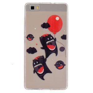Průhledný gelový obal na Huawei P8 Lite - monsters - 1