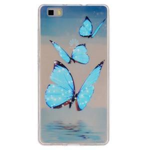 Průhledný gelový obal na Huawei P8 Lite - motýlci - 1