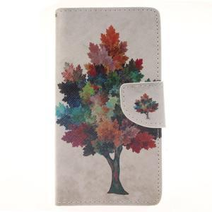 Leathy PU kožené puzdro na Huawei P8 Lite - farebný strom - 1