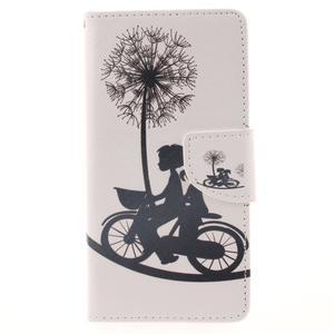 Leathy PU kožené puzdro na Huawei P8 Lite - láska na bicykli - 1