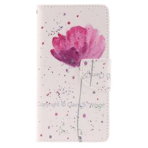 Leathy PU kožené puzdro na Huawei P8 Lite - makový kvet - 1