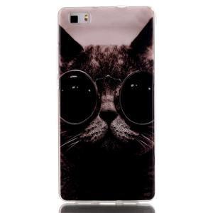 Softy gelový obal na mobil Huawei P8 Lite - cool kočka - 1