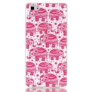 Softy gelový obal na mobil Huawei P8 Lite - růžoví sloni - 1