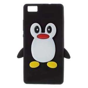 Tučňák silikonový obal na mobil Huawei P8 Lite - černý - 1