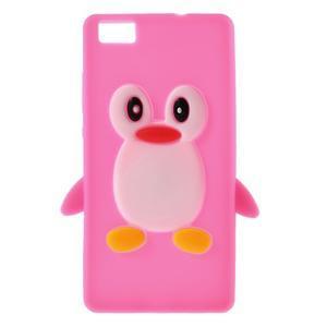 Tučňák silikonový obal na mobil Huawei P8 Lite - rose - 1