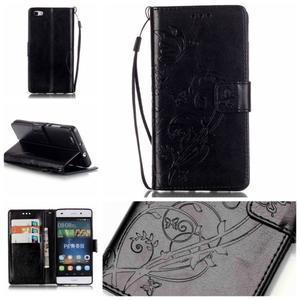 Magicfly PU kožené puzdro na Huawei P8 Lite - čierne - 1