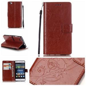 Magicfly PU kožené pouzdro na Huawei P8 Lite - hnědé - 1