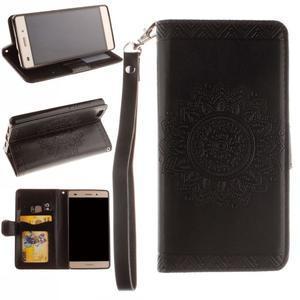 Mandala PU kožené puzdro na mobil Huawei P8 Lite - čierne - 1