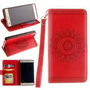 Mandala PU kožené pouzdro na mobil Huawei P8 Lite - červené - 1
