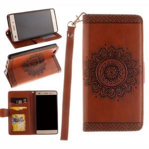 Mandala PU kožené pouzdro na mobil Huawei P8 Lite - hnědé - 1