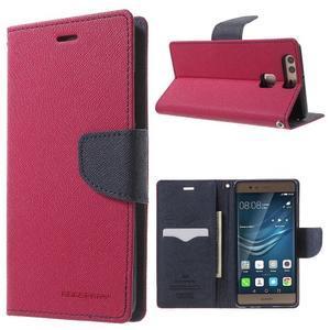 Diary PU kožené pouzdro na mobil Huawei P9 - rose - 1