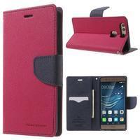 Diary PU kožené pouzdro na mobil Huawei P9 - rose - 1/7