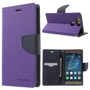 Diary PU kožené pouzdro na mobil Huawei P9 - fialové - 1