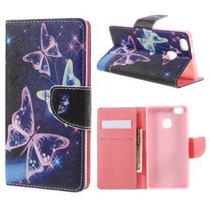 Richi PU kožené pouzdro na Huawei P9 Lite - kouzelní motýlci - 1